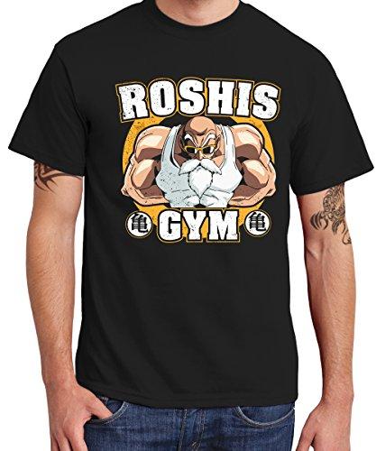 clothinx Herren T-Shirt Roshis Gym Schwarz