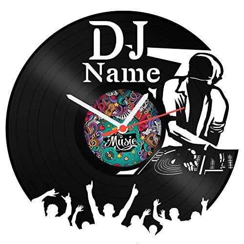 Schallplattenuhr DJ aus Vinyl mit kostenloser Gravur Vinyl-Uhr Upcycling Design Uhr Wand-Deko Vintage-Uhr Wand-Dekoration Retro-Uhr Made in Germany (Uhr Vintage Wand)
