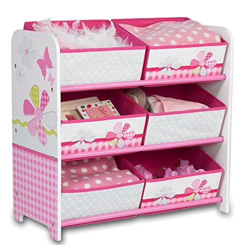 Aufbewahrungsregal - Spielzeugkiste - Kinderregal - Regal 6 Boxen Mädchen und Jungs mit Motivwahl (Patchwork)