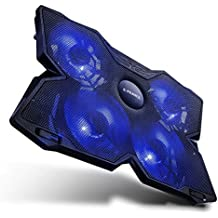 E-PRANCE Bases de refrigeración para portátiles y netbooks, Enfriador ordenador portátil de 15, 17 pulgadas ( USB,4 ventiladores, 1200 RPM, con Led azules ultraportátil ligera) color negro