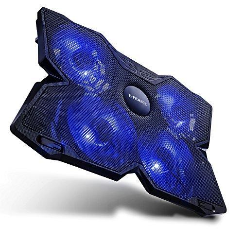 """E-PRANCE X4 Refroidisseur PC portable Support ventilé 15"""" - 17"""" Ventilateur pc portable Refroidisseur pour ordinateurs portables avec 4 x 125mm ventilateurs à 1200 RPM, 2x USB, Ultra-Portable, Poids léger,Gamer Gaming"""