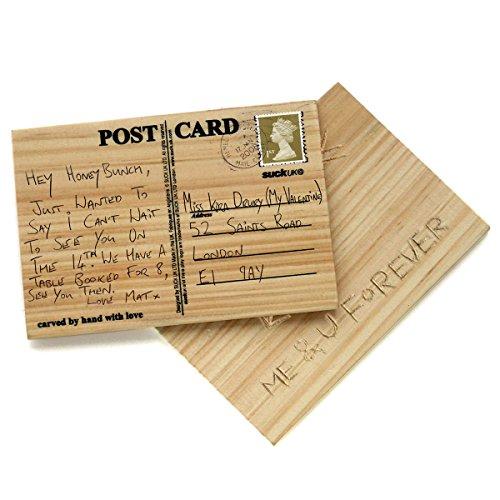 Cartolina in legno di pino sostenibile - il biglietto di auguri in legno intagliato, personalizzato, da incidere e scrivere