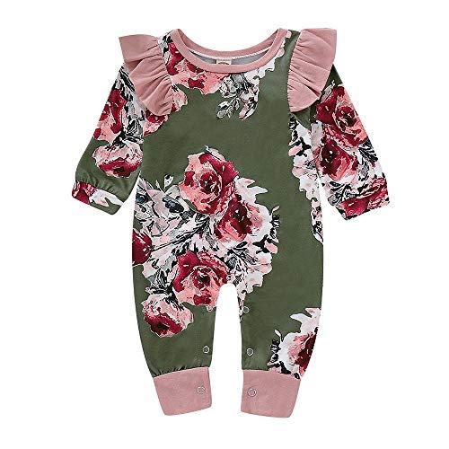 cinnamou Neugeborenes Baby Overall mit Langen Ärmeln Jumpsuit mit Blumendruck Mädchen Jumpsuit