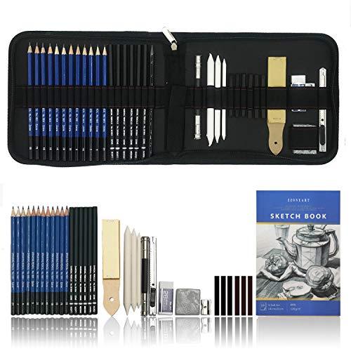 Set artistico di matite da disegno e da schizzo di 36 pezzi - kit artistico con matite di grafite, matite a carboncino, matita di grafite senza legno, carboncini, temperamatite e gomme