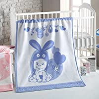 Delindo Lifestyle® Manta para Bebé y Niños LIEBRE AZÚL/380g/m² Colchas/