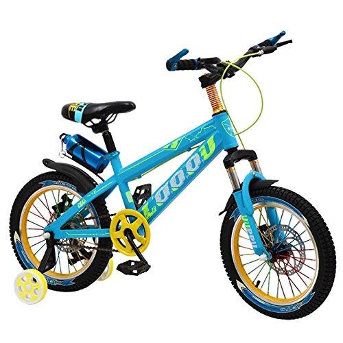 QXMEI Fahrrad Kinder 3-6-9-12 Jahre Alt Junge Dual-Disc-Bremse Stoßdämpfer 16/18/20 Zoll Fahrrad,Blue-18Inches -