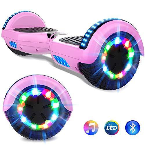 GeekMe 6.5 Zoll Self Balance Scooter Elektroroller mit Bluetooth und Blinkenden Rädern E-Balance Board E-Skateboard UL2272 Bestätigt (pink)