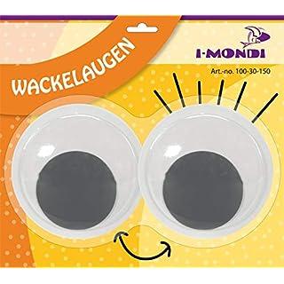 Wackelaugen groß selbstklebend 150 mm Jumbo zum basteln malen und dekorieren schwarz-weiß runde Augen für DIY Projekte auch als Wiggle Glubschaugen oder Kulleraugen bekannt für Fenster Türen Kostüme