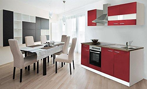 respekta Küche Küchenzeile Einbauküche 210 cm Weiß Front Rot CERAN KB210WRC