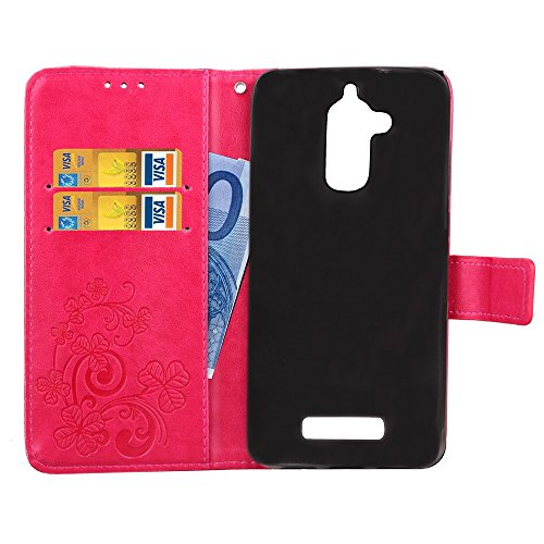 Double Magnetic Back Sucktion Retro Style PU Leder Flip Stand Case mit Kickstand und Wallet Beutel Funktion für Asus ZenFone 3 Max ZC520TL ( Color : Gray ) Rose