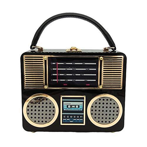 FFYUYI Retro Radio Clutch-Bag, Damen Personalisierte Acryl Box-Handtasche