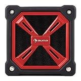 auna • TRK-861 • Bluetooth Lautsprecher • mobiler Außenlautsprecher • Gummi-Outdoor-Gehäuse • zuschaltbarer Bass-Boost • LED-Leuchte • spritzwassergeschützt • integriertes Mikrofon • Freisprecheinrichtung • Akku-Betrieb • Aufladung über Mini-USB • rot