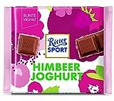 RITTER SPORT Himbeer Joghurt (12 x 100 g), Vollmilchschokolade gefüllt mit Himbeer-Joghurtcreme & Himbeercrisps, Tafelschokolade, Sommersorte 2019