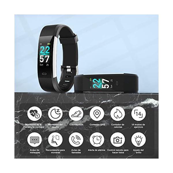 Glymnis Pulsera de Actividad Inteligente Pulsera Deportiva IP68 con 14 Modos de Deporte Notificaciones Monitor Rítmo Cardíaco y Sueño para Hombre Mujer Niño Compatible con iOS y Android 3