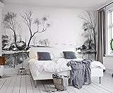 Papel Pintado 3D Bosquejo De Línea Blanco Y Negro Paisaje Río Ciudad Fotomurales Decorativos Pared 3D Modernos Dormitorio