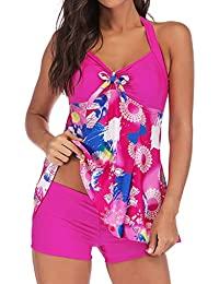 0ab4f20193 DIKEWANG Women Plus Size High Waist Padded Vintage Padded Two Pieces Print  Tankini Swimjupmsuit Swimsuit Beachwear