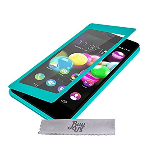 Etui Housse ExtraSlim Vitre Tactile et Stand Wiko Highway Pure 4G - Turquoise + STYLET et 3 FILMS OFFERTS!