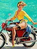 HiSign pin up Style Motorbike Panneau De Mur en Étain Drôle Peinture De Fer Vintage Plaque en Métal Décoration Rétro Art Artisanat Suspendu oeuvre Affiche pour Bar Café Maison Magasin Maison Cour