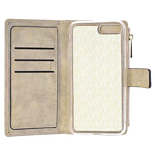 Phone case & Hülle Für iPhone 6 Plus & 6s Plus Retro Style Crazy Pferd Textur Horizontale Flip Leder Tasche mit abtrennbaren Rückseiten Cover & Zip Fastener & Card Slot & Wallet & Magnetic Buckle ( Co White