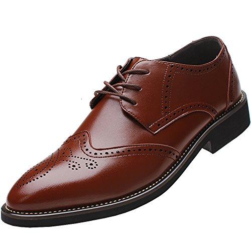 Rismart Herren Uniform- & Berufsschuhe Büro Brogue Schnürsenkel Leder Oxford Shoes SN16856(Braun,EU40.5)