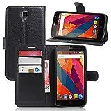 Guran® PU Housse En Cuir pour ZTE Blade L5 Plus Smartphone Flip Cover Étui Debout Fonction et Fente Porte-cartes Cas-noir