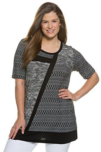 Ulla Popken Damen große Größen   Long-Shirt   Patchlook   Muster   runder Ausschnitt   Halbarm   bis Größe 62+   704908 Schwarz
