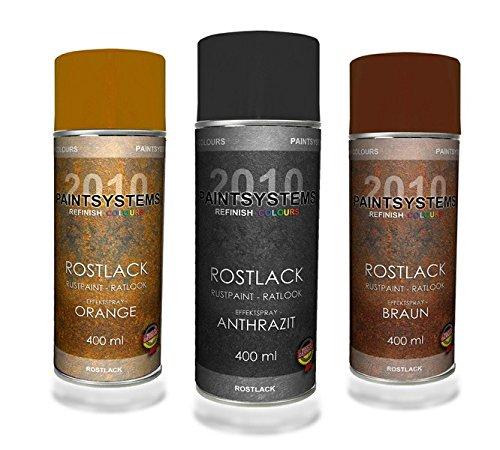 Rosteffektlack Spraydosen Set 3 farbig - 3x 400ml