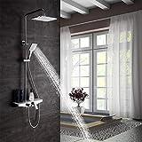 KAIBOR Moderne Dusche mit Ablage und Wanneneinlauf, höhenverstellbar, Regendusche 19x26 cm, Duschsystem eckig, Duscharmatur mit Handbrause, Verbrühschutz.