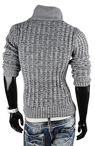 Tazzio Pull tricot à grosses mailles pour homme Gris - Gris
