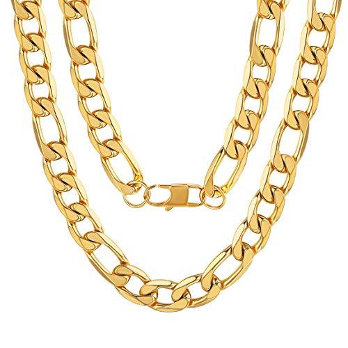 ChainsPro Herren Halskette Figarokette Armband 925 Silber Vergolded 18 Karat Breite 13mm - Frauen Für Diamant-gold-armbänder