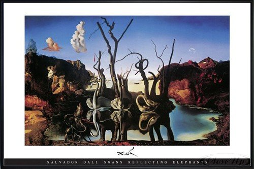 Salvador Dali Poster Swans Reflecting Elephants (62x93 cm) gerahmt in: Rahmen schwarz - Swans Reflecting Elephants Von Dali