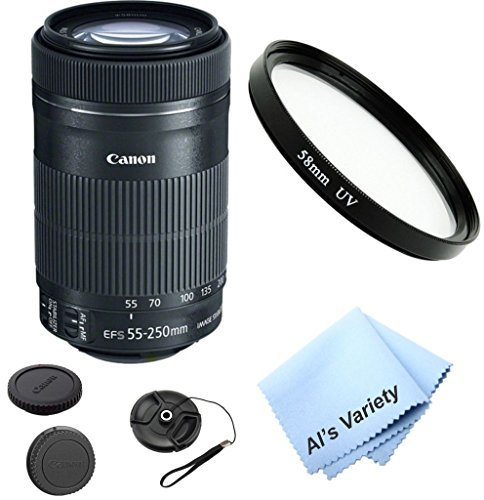 Canon EF-S 55-250mm f/3.5-5.6 IS STM Zoom Lens Bundle (White Box) Kit With + High Definition UV Filter + Al's Variety Premium Cleaning Cloth + Great Value Bundle  available at amazon for Rs.24541