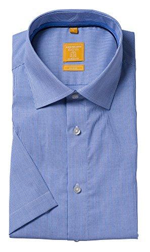 Redmond Body Cut Halbarm Hemden in Blautönen Kent (71720990) Streifen Blau