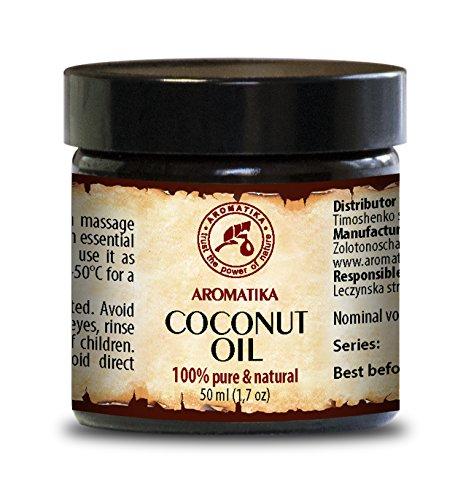Kokosöl 50ml - Kaltgepresst - Cocos Nucifera - Indonesien - 100% Rein & Natürlich - Kokosnussöl - Glas - Unraffiniert - Körperbutter - Pflege für Gesicht - Körpe - Haar-Körperpflege -