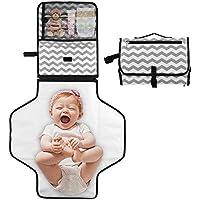 Hoovo Cambiador Portátil para Bebé Impermeable Cambio de Pañales Pad Cambiador de Viaje Para Hogar Fuera Gris