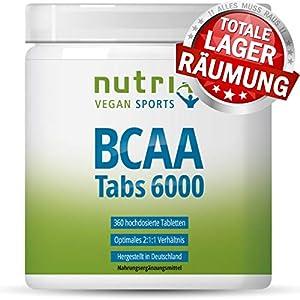 BCAA Tabletten 2:1:1 vegan - 360 Mega Tabs - 1000 mg BCAAs Tablette - Aminos...