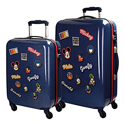 Disney Mickey Parches Maleta, 67 cm, 97 Litros, Set de 2, Azul