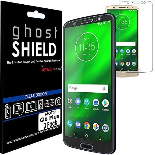 TECHGEAR [3 Stück Bildschirmschutz Kompatibel mit Motorola Moto G6 Plus - [ghostshield] Genuine verstärkte TPU Bildschirmschutzfolie Guard mit Gesamte Display Deckung inkl. Gebogener Bereich