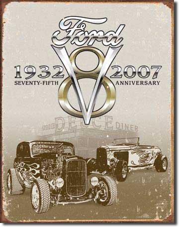 Ford Deuce 75th Annv Blechschild Flach Neu 40x31cm VS4743-1 (Raceing Car)