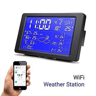 Despertador de la estación meteorológica WiFi Inteligente con retroiluminación Digital Reloj de Escritorio Soporte Pronóstico del Tiempo para los próximos 3 días