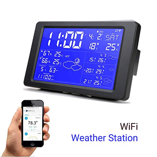 Qiumi Intelligente WLAN-Wetterstation mit digitaler Hintergrundbeleuchtung Desktop-Uhr Unterstützung für die nächsten 3 Tage