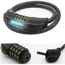 Bike cifre serratura Ecooltek combinazione resettabile cavo di sicurezza anti taglio luce LED 4cifre Password (Swagman 3 Bike)