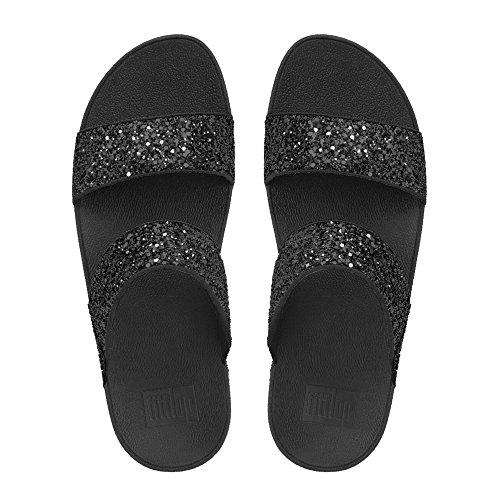 FitFlop Glitterball Slide, Sandales Plateforme Femme, Noir Black (Black Glitter)