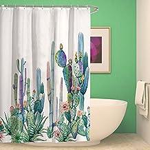kisy Tropical plantas Cactus cortina de ducha de baño resistente al agua Cactus pétalos de flores
