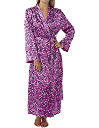 8328b5e11c Indigo Sky Ladies Charmeuse Satin Wrap Lace Panel Floral Print Dressing Gown  10 to 28