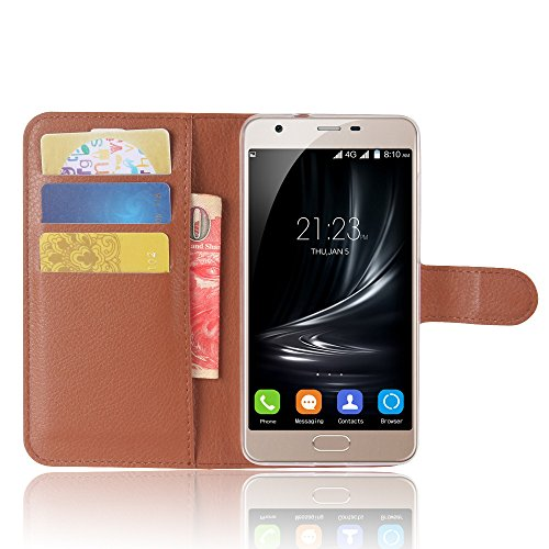 SMTR Blackview A7 Wallet Tasche Hülle - Ledertasche im Bookstyle in Braun - [Ultra Slim][Card Slot][Handyhülle] Flip Wallet Case Etui für Blackview A7