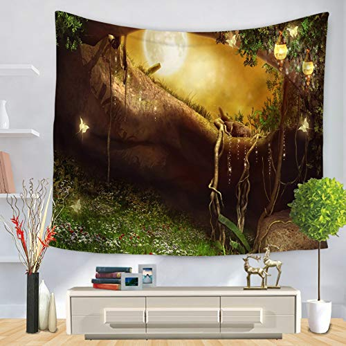 (XIAOBAOZIGT Tapisserie Hippie Ethnischer Fantasiestil Wandbehang Brauner Stamm 3D Digitaldruck Schal Kissen Yogamatte Hängende Dekoration Für Familienschlafzimmer 200 × 150 cm)