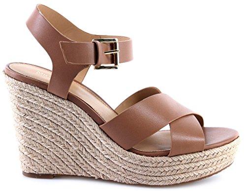 Michael Kors Damen Sandals Schuhe Pumps Kady Wedge Leather 40S8KAHS1L Cashew New (Wedge Shoes Kors Michael)