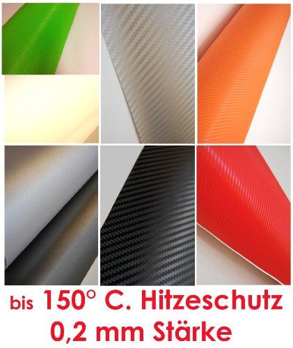 Carbonfolie Carbon Folie (= 42,00€/m2) Auto Bike Laptop Handy * Blasenfrei schwarz weiß orange grün rot silber (50 x 50 cm, schwarz)