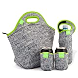 Nordic by Nature Extra Big Insulated Large Neoprene Lunch Bag Set: Tote + Bottle Cooler + 2 Can Insulators | 13,5